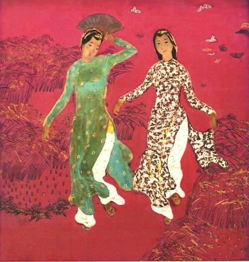Deux filles en marche sur les champs de riz, Nguyen Tien Chung, 1943