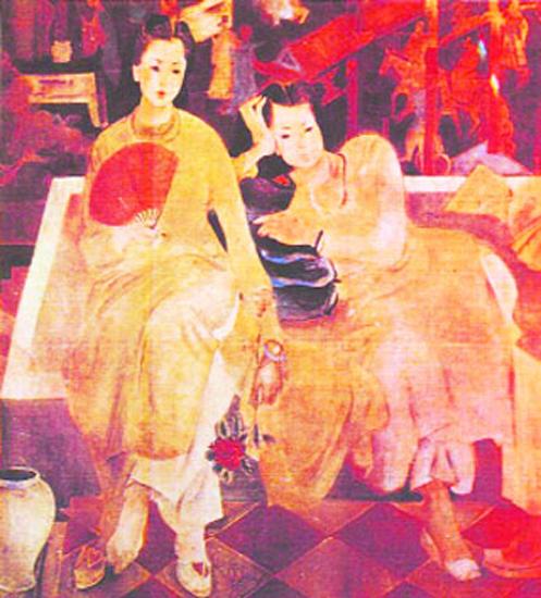 Deux filles devant le paravent, Tran Van Can